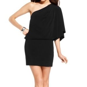 Jessica Simpson Black Blouson One-Shoulder Dress